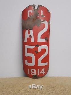 1914 CALIFORNIA Motorcycle Porcelain License Plate