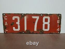 1914 California 4 DIGIT PORCELAIN License Plate Tag Original F