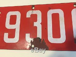 1914 California License Plate PAIR ++ White & Red Porcelain