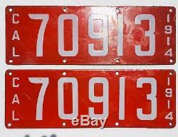 1914 California License Plates Pair, Porcelain, Original, DMV Clear