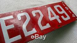 1914 California Porcelain Dealer License Plate #E2249
