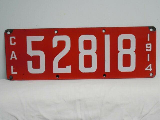 1914 California Porcelain License Plate