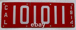 1914 California Porcelain License Plate # 101011