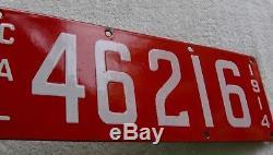 1914 California Porcelain License Plate # 46216
