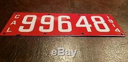1914 California Porcelain License Plate # 99648
