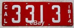 1914 California Porcelain License Plate -Four Digit # 3313