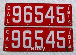 1914 California Porcelain License Plate Pair # 96545
