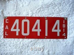 1914 California Porcelain Passenger License Plate # 40414