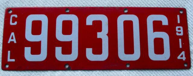 1914 California Porcelain Passenger License Plate # 99306