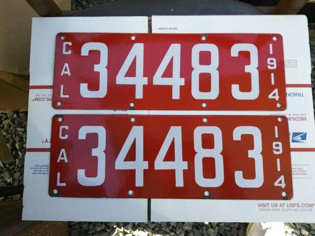 1914 California Yom License Plates Pair Dmv Clear Original Porcelain