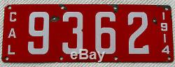 1914 California four digit Porcelain License Plate # 9362