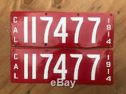 1914 California license plate pair 117477 YOM DMV clear Ford Model T porcelain