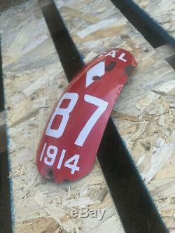 1914 California motorcycle dealer license plate 87 fender curved porcelain