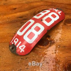 1914 California motorcycle license plate B 808 fender curved porcelain white red