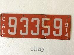 1914 California porcelain license plate 93359 Big Pine, CA