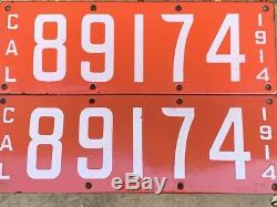 1914 Vintage California License Plates (pair)