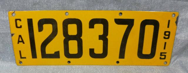 1915 Ca California Second Year Porcelain License Plate Vgc