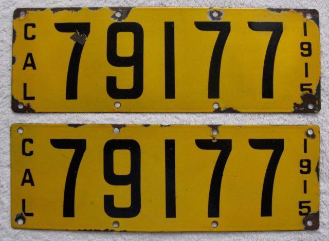 1915 California Porcelain License Plate Pair. # 79117 Dmv Clear