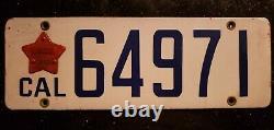 1916 1919 CALIFORNIA PORCELAIN LICENSE PLATE VINTAGE tag registration automobile