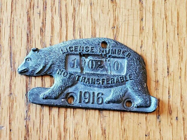 1916 California Grizzly Bear License Plate / Tag Rare Antique Vintage