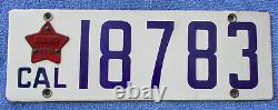 1916 California Passenger License Plate with Matching 1919 Year Tab #18783