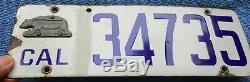 1916 California Porcelain License Plate # 34375