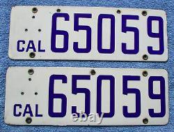 1916 California Porcelain License Plate Pair # 65059