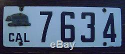 1916 Porcelain California License Plate 101 Yr Old Antique