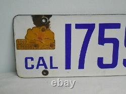 1917 California Porcelain License Plate # on Poppy Matches Plate