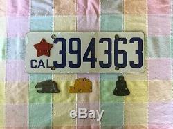 1918/19 California porcelain license 16,17,18,19 tags