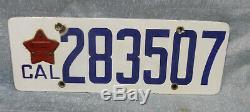 1919 CA California Porcelain License Plate with Original Star