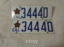 1919 California CAR license Plate pair ORIGINAL RARE DMV CLEAR, ISSUED 1916