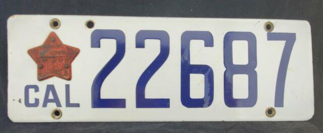 1919 California Porcelain License Plate All Original Matching Tab