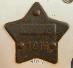 1919 California Porcelain License Plate ALL ORIGINAL Matching Tab plus 1918 tab