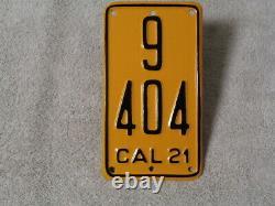 1921 California License Plate Motor Cycle #9-404 DMV Clear Restored