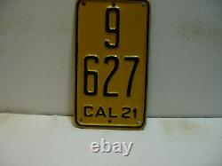 1921 California License Plate Motorcycle 9 627 VERTICAL Restored as4191