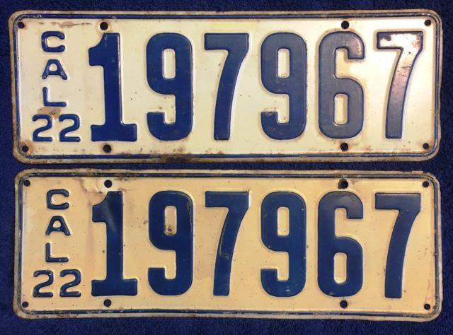 1922 California Automobile License Plate Pair, Number 197967