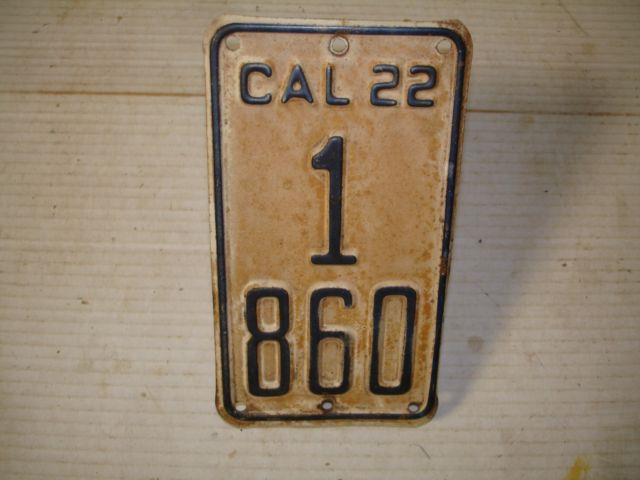 1922 California Motor Cycle License Plate Dmv Clear Original Very Rare