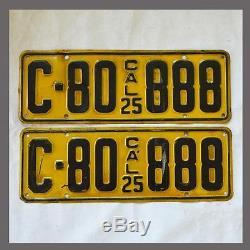 1925 California License Plates Pair Original DMV Clear YOM CA Vintage Old