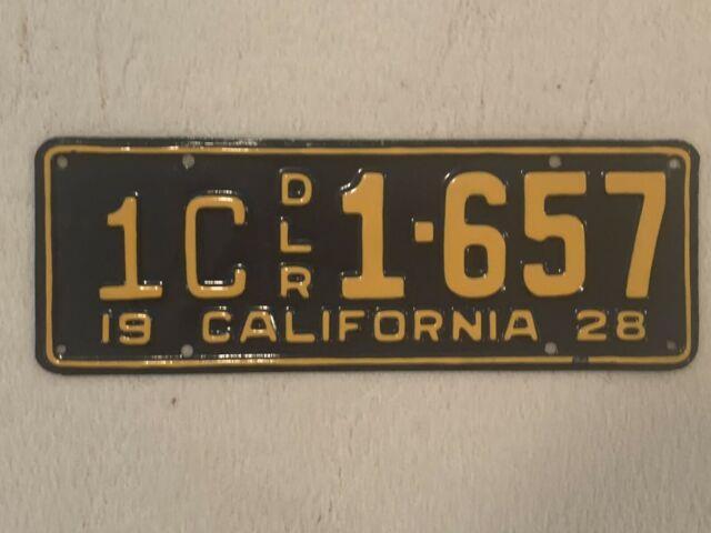 1928 California Dealer License Plate -professionally Restored