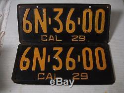 1929 California CAR license Plate pair DMV OK ORIGINAL 6N 36 00