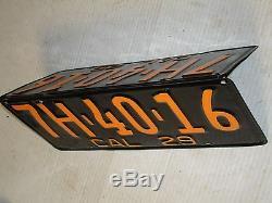 1929 California CAR license Plate pair DMV OK RESTORED 7H-40-16