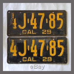 1929 California License Plates Pair DMV Clear YOM CA Original