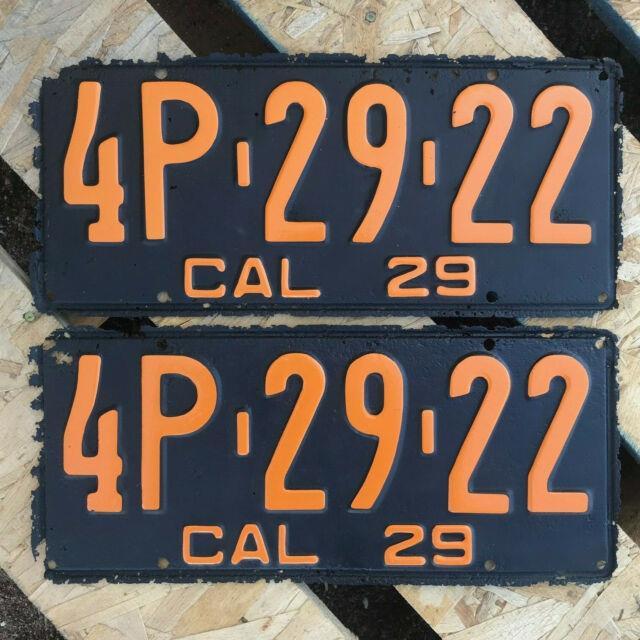 1929 California License Plate Pair 4p 29 22 Yom Dmv Clear Ford Model A Rat Rod