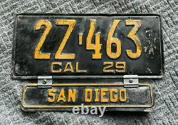 1929 SAN DIEGO California license plate All original, government issued