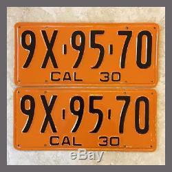 1930 CALIFORNIA License Plates Pair Restored DMV Clear YOM