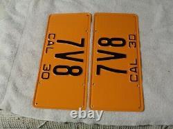 1930 California License Plate Pair, Car DMV Clear Restored Rare # 7v8