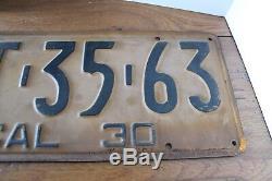 1930 California License Plates Pair Old Original