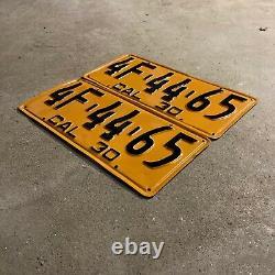 1930 California license plate pair 4F 44 65 YOM DMV clear Ford Model A Chevy
