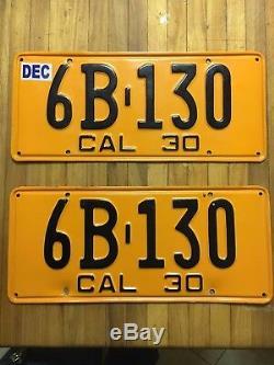 1930 California license plate pair 6B 130 YOM DMV clear/avail Ford Model A
